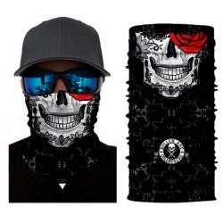 Mulifunkční šátek - lebka s růží