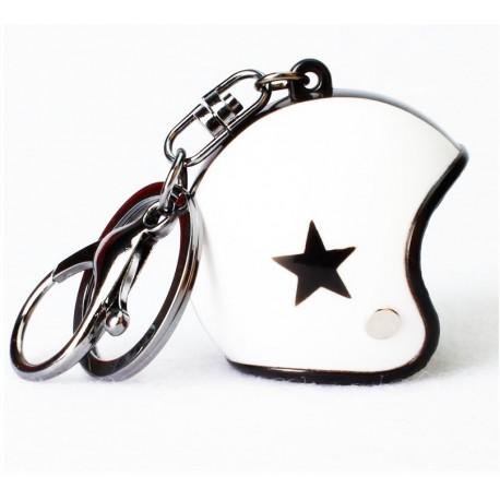 Přívěsek na klíče helma - bílá
