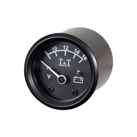 Voltmeter T&T 48mm, 8-16V, Black