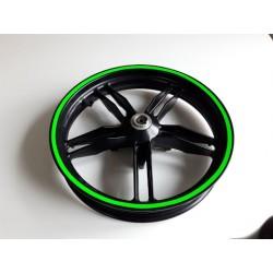 Sada proužků na ráfky zelená reflexní