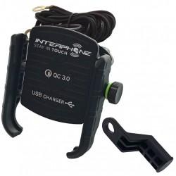 Univerzální držák na mobilní telefony Interphone MOTOCRAB s integrovaným USB portem, černý