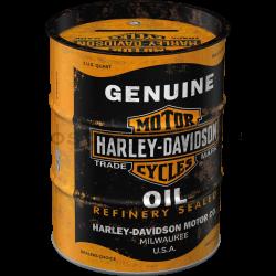 Plechová kasička barel: Harley-Davidson Genuine Oil