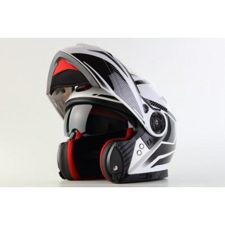 Vyklápěcí helma Maxx FF950 černá/bílá