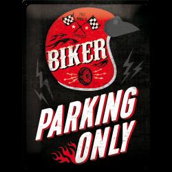 Plechová cedule - Biker Parking Only