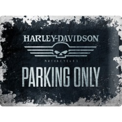 Plechová cedule - Harley Davidson Parking only 30x40cm