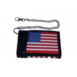 Textilní peneženka s řetězem USA