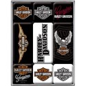Magnety na lednici Harley Davidson, set 9 ks