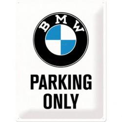 Originální plechová cedule pro motorkáře - BMW PARKING ONLY